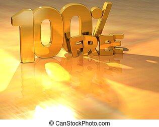 3D 100 Percent Free Gold Text