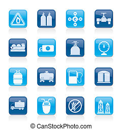 Natural gas objects and icons - vector icon set