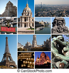Paris collage - arhitecture outdoor. Romantic symbols of...