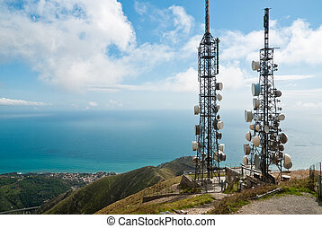 telecommunications towers - panorama with two...