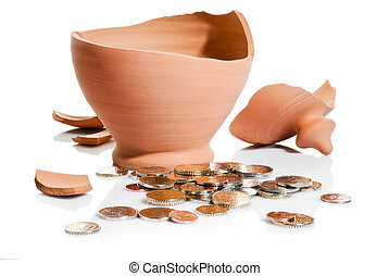 moneybox crashed and coins isolated over white background