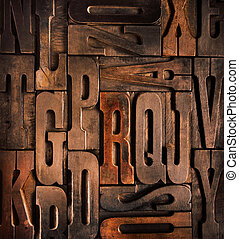 antique wooden type - old wooden type background