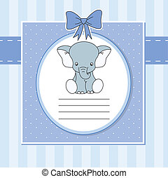 Cute elephant - Baby boy arrival announcement card. Cute...