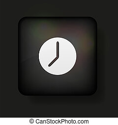 Vector clock icon on black. Eps10