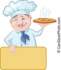 Cook with pizza and poster - Cartoon cook - chef with...