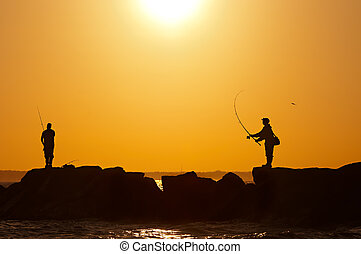 anglers - anglers at sunset