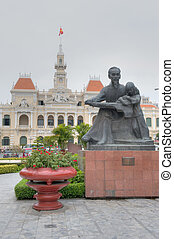 Statue of Ho Chi Minh with Child - City Hall's Statue of Ho...