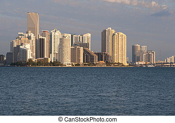 Miami Skyline from Key Biscayne - Miami Skyline from the...