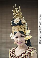Apsara Dancer - Ornamental Costume of an Apsara Dancer in...