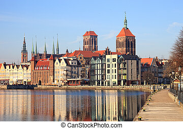 Gdansk - Motlawa river with city skyline in the background...
