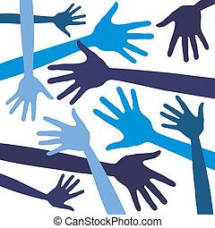 Fun hand design vector.  - Fun hand design vector in blue.