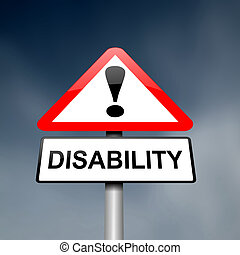 Disability awareness. - Illustration depicting a red and...
