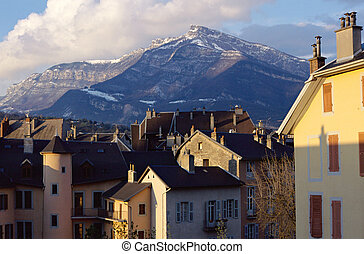 Roofs and mountain in Chambery, Savoy, France - Overview of...