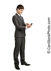 businessman holding smart phone