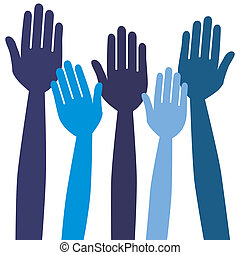 Reaching or voting hands. - Reaching or voting hands design....