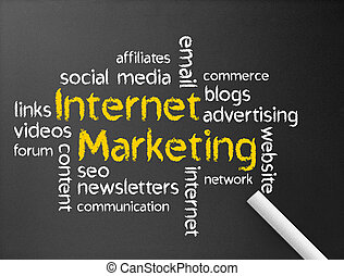 Internet Marketing - Dark chalkboard with the Internet...