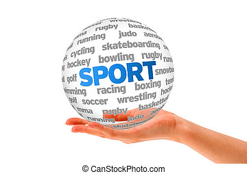 Sport - Hand holding a 3d Sport Sphere on white background