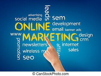 Online Marketing - Hand pointing at a Online Marketing...