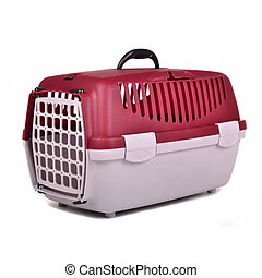 Pet travel plastic cage, isolated on white background
