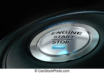 Car engine start and stop button with blue light anf black...