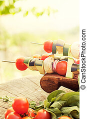 Vegetable kebab - Spring garden barbecue Vegetable kebabs...