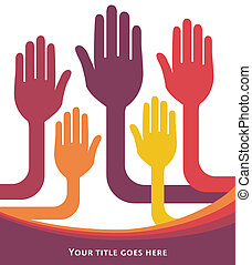 United group of hands.