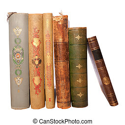 stack antique books - Stack of six antique books, isolated...