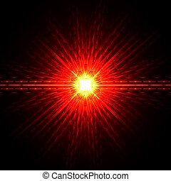 red light - abstract lens flare light over red background
