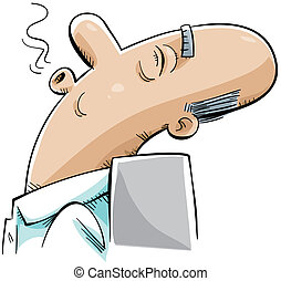 Sleeping Senior - A cartoon senior man lies back and has a...