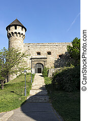 medieval bastion in Royal Palace of Buda, Budapest,