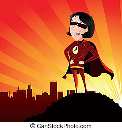 Super Hero - Female - Illustration of a cartoon super hero...