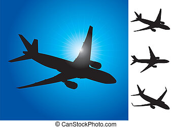 Three airplanes vector illustration