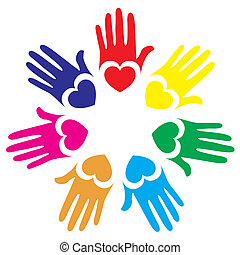 Colorful hands design.
