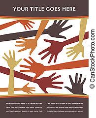 Random hands vector pattern. - Random hands vector pattern...