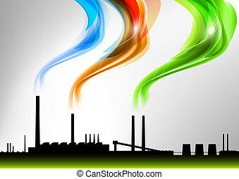 rainbow factory - factory with the rainbow smoke