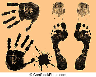 Foot, finger and hand prints
