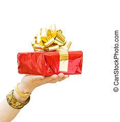 feliz, cumpleaños, -, Dar, regalo