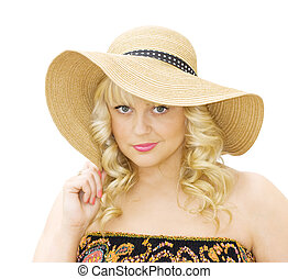 Summer fashion - woman with straw hat - Summer fun -...