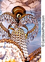 Crystal pendants - Crystal chandelier hanging on the old,...