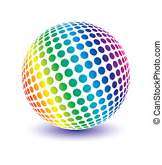 Multicolored globe vector. - Multicolored globe vector...