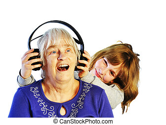 Intro to Modern Music - senior woman and young girl...