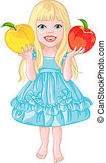 cute little girl with the apples laughs - vector Pretty babe...
