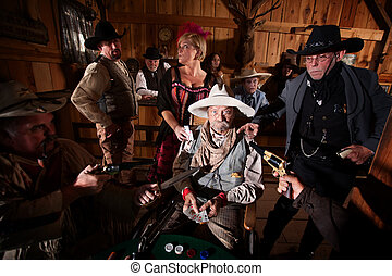 Weapons on Cheating Gambler - Sheriff and cowboys with...