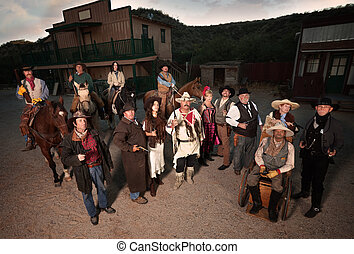 Group of Tough Old West People - Group of tough people in...