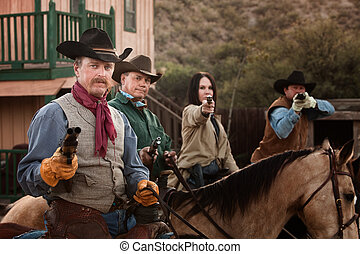 Four Tough Western Robbers - Cowgirl with three male...
