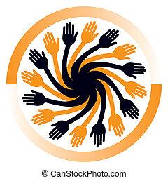 Hand vortex design. - Hand vortex design vector.