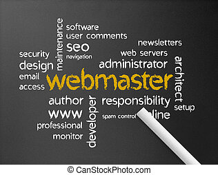 Webmaster - Dark chalkboard with a webmaster illustration.