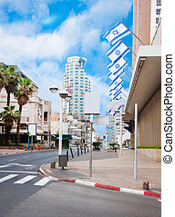 The street in Tel Aviv, national flags of Israel