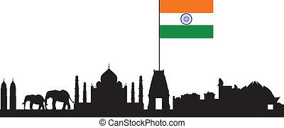 india skyline with flag