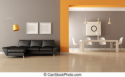 Modern living room - contemporary living room with dining...